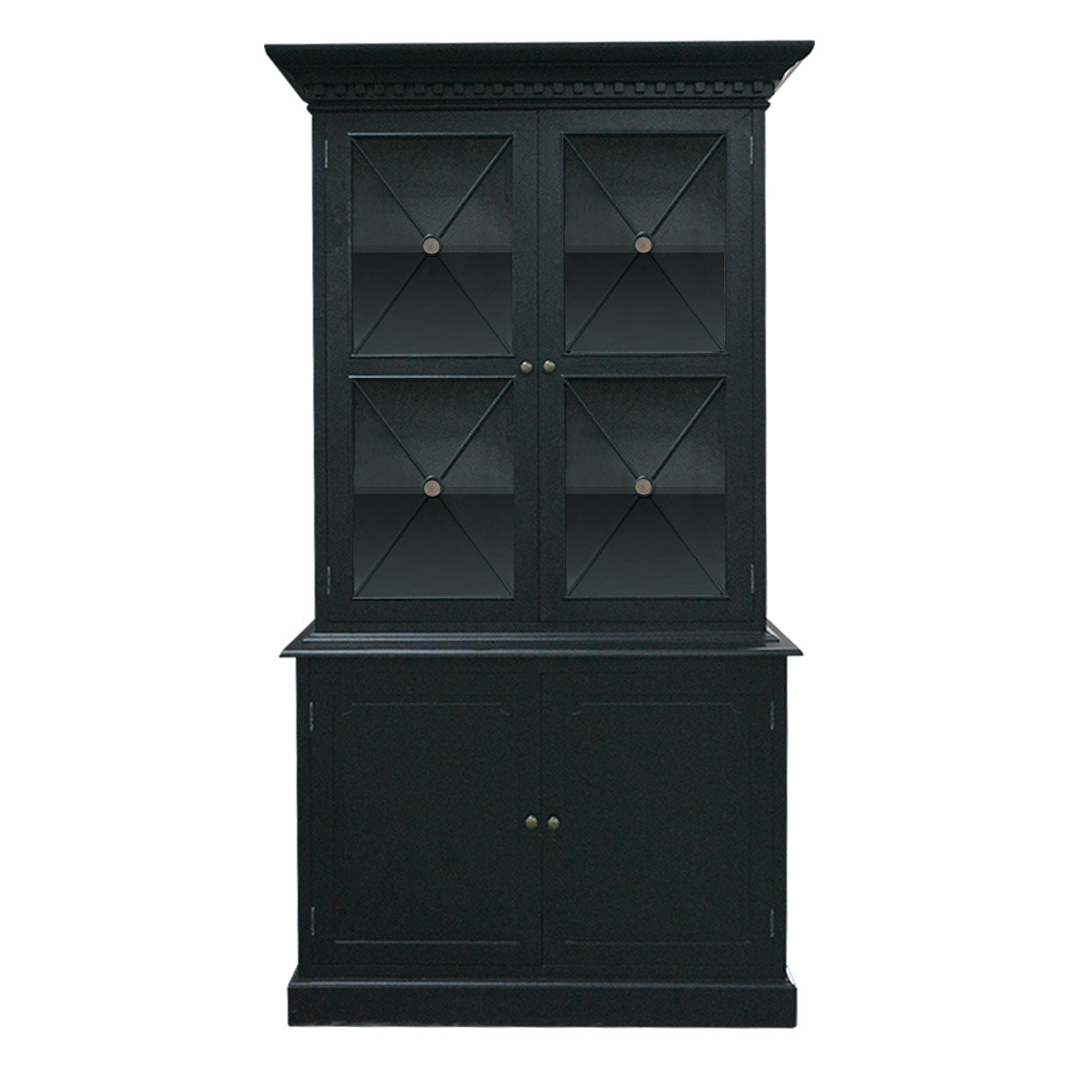 Picture of: Hamptons Criss Cross Glass Door Black Hutch Buffet Cabinet Chest Sideboard Ebay