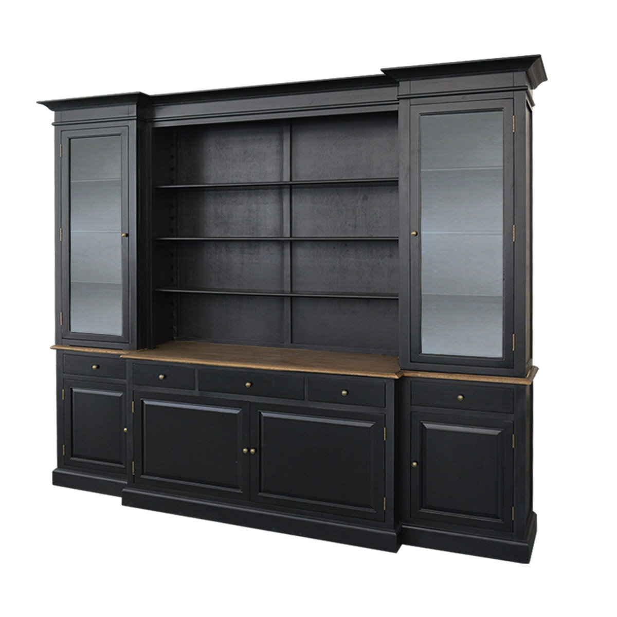 Hampton Style Buffet Sideboard and Glass Hutch Open ...