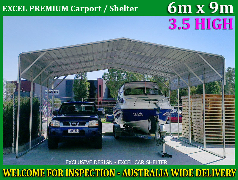 large steel carport 6m x 9m cream garden backyard shed portable car boat shelter ebay. Black Bedroom Furniture Sets. Home Design Ideas