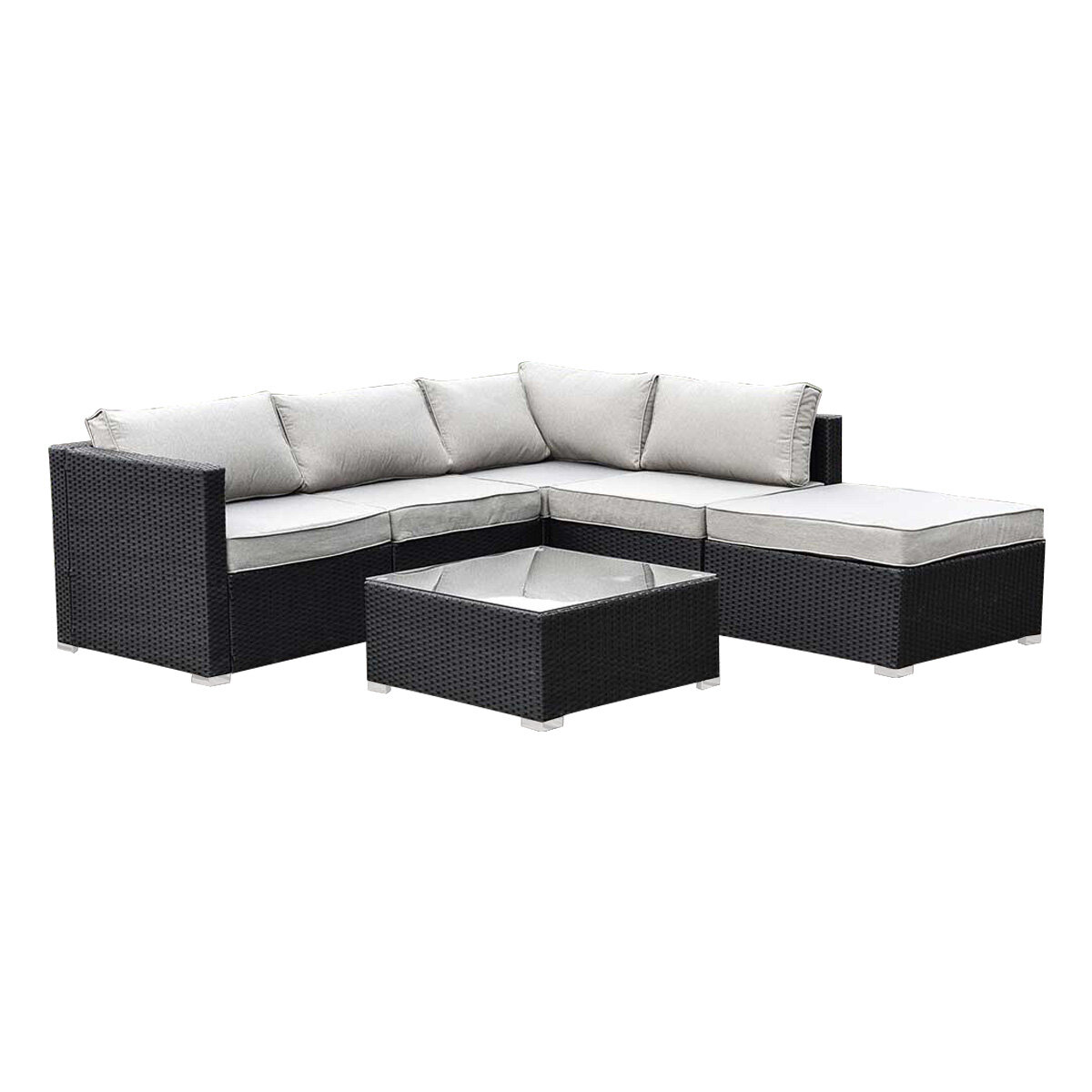 6 Pieces Outdoor Furniture Rattan Set Sofa Lounge Table