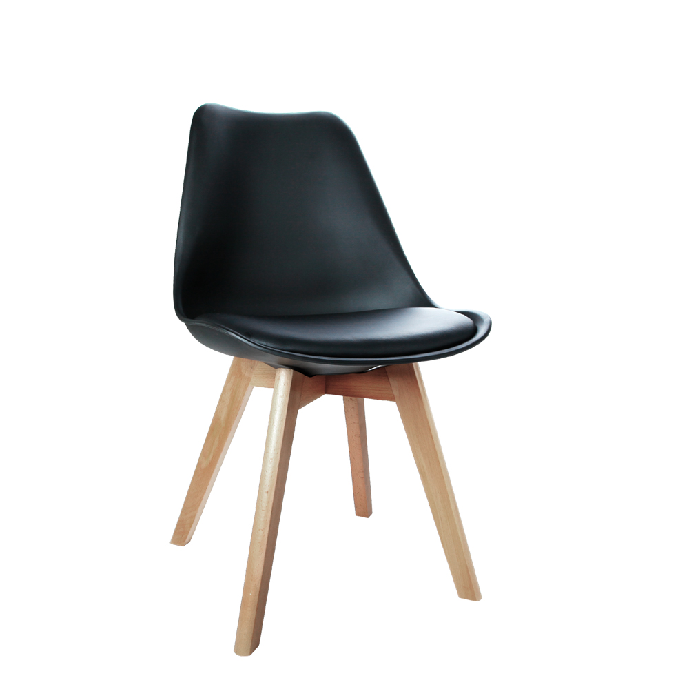 Set Of 2 Dining Chair Pu Leather Seat Black