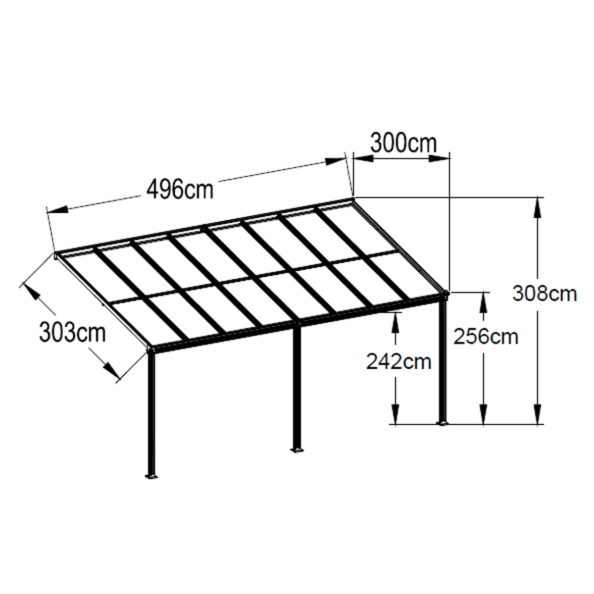 pergola kit aluminium outdoor patio deck cover 5 x 3m