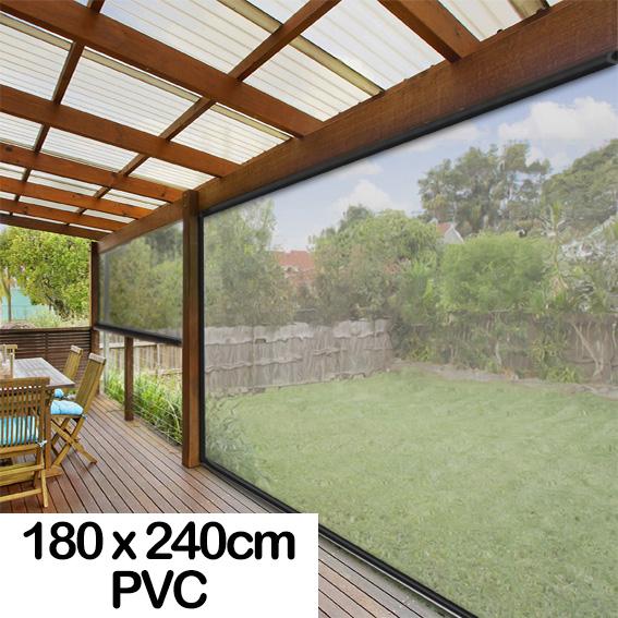 180CM X 240CM Heavy Duty PVC Clear Patio Cafe Blinds Outdoor UV...