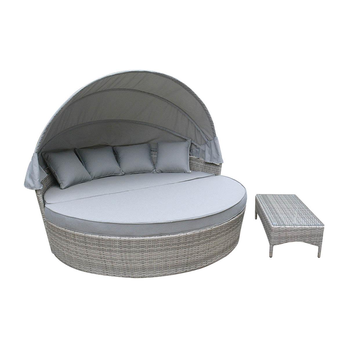 Outdoor Furniture Pe Day Bed Sun Lounge Wicker Rattan
