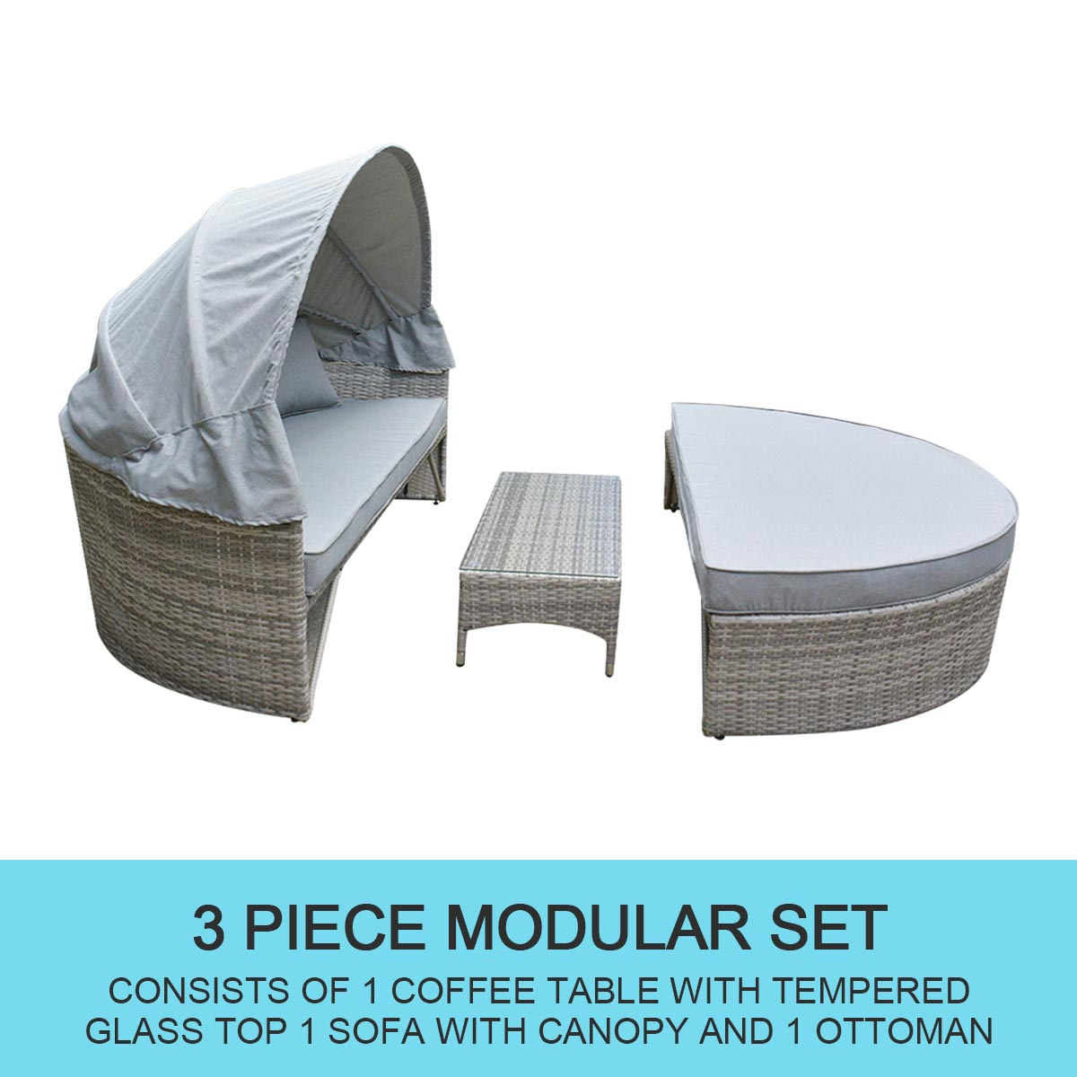 Outdoor Furniture Round Day Bed Sun Lounger Wicker Rattan