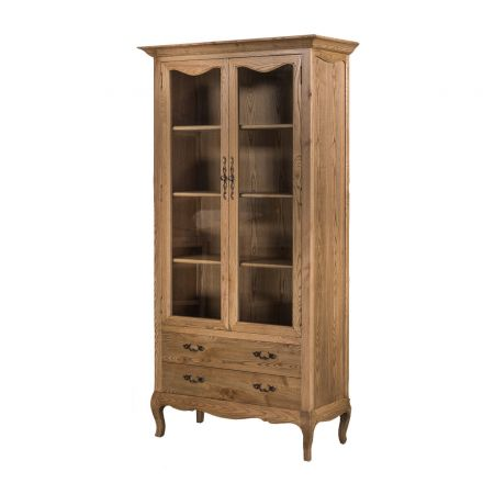 French Provincial Furniture Display Cabinet Natural Oak