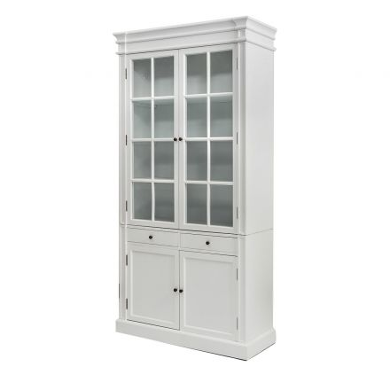 French Provincial Hamptons 2 Glass Door Display Cabinet /Bookcase in White