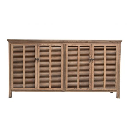 Hamptons Louvre 4 Door Sideboard Buffet Cabinet in Natural Ash