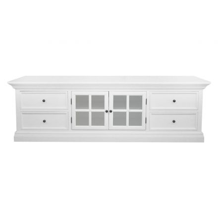 Hamptons Halifax White TV Unit Entertainment With Drawers