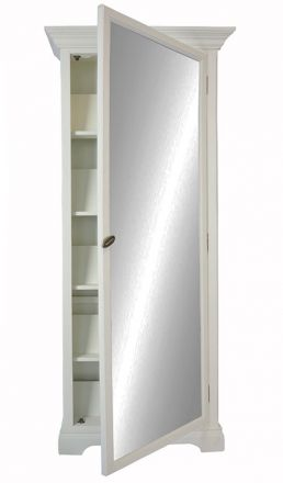 Hamptons Halifax Furniture MIRROR SHOE CABINET Vintage Pearl White