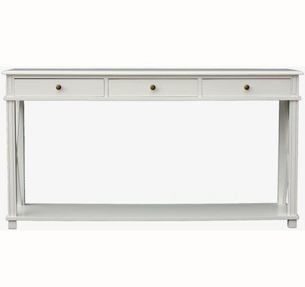 Hamptons Halifax Side Cross Drawers Console Hall Table Furniture White