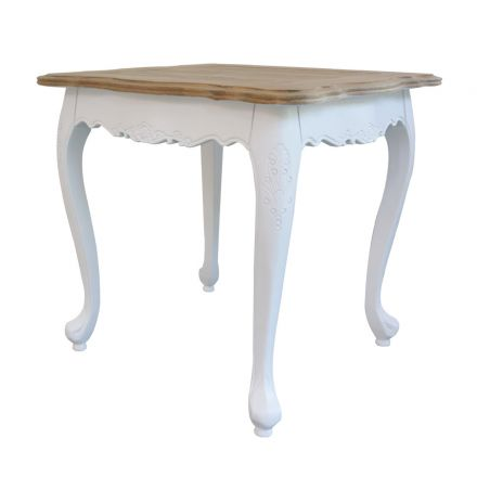 French Provincial Bed End Side Lamp Table in White with Natural Oak Top