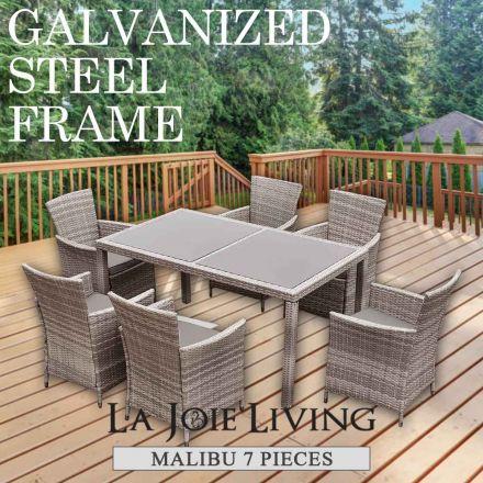 Malibu 7 Piece 6 Seater Outdoor Dining Set Furniture Rattan Steel Frame