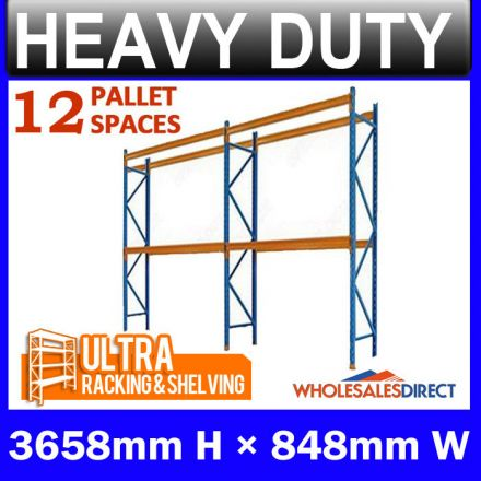Pallet Racking 2 Bay System 3658mm High 12 Pallet Spaces
