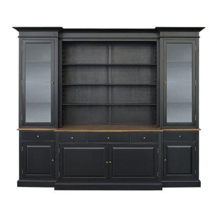 Hamptons Buffet Sideboard Glass Hutch Open Bookcase White/Black