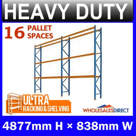 Pallet Racking 2 Bay System 4877mm High 16 Pallet Spaces
