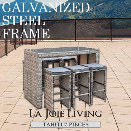 Tahiti 7 Piece 6 Seater Outdoor Bar Set Furniture Rattan Steel Frame Table Stool