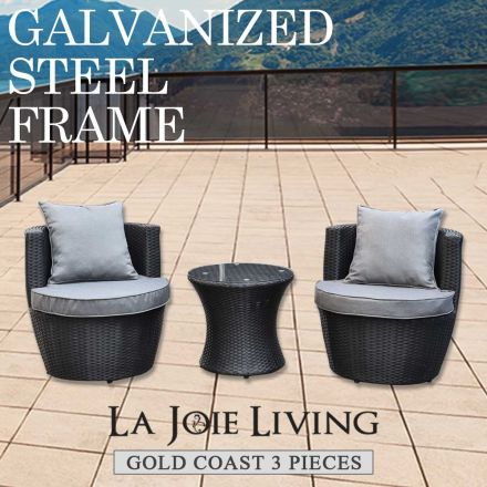 Gold Coast 3 Piece Outdoor Garden Balcony Set Furniture Rattan Wicker Steel Frame
