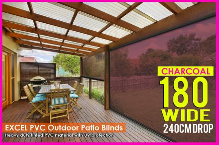 180CM X 240CM Heavy Duty PVC Tinted Patio Cafe Blinds Outdoor UV Protect Awning
