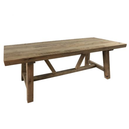 LeMans Rustic Trestle Reclaimed Pine Dining Table