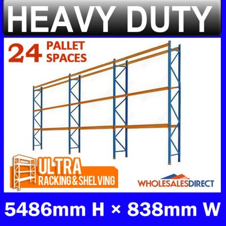 Pallet Racking 3 Bay System 5486mm High 24 Pallet Spaces