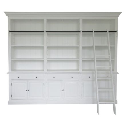 Hamptons Halifax 3 Bay Buffet and Hutch Bookcase with Ladder