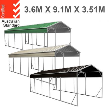 Carport 3.6 x 9.1m x 3.51m (Gable) Backyard Boat Portable Vehicle Shelter