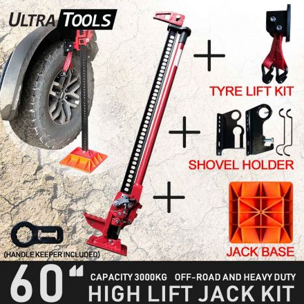 "COMBO - High Lift 60"" Farm Jack Kit Tyre Lift Kit + Shovel Holder + Jack Base + Handle Keeper"