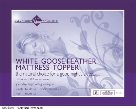 Queen Mattress Topper - 100% Goose Feather