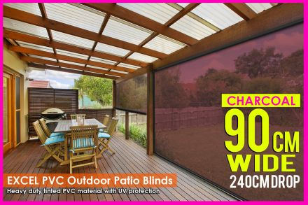 90CM X 240CM Heavy Duty PVC Tinted Patio Cafe Blinds Outdoor UV Protect Awning