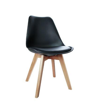 Set Of 4 Dining Chair Pu Black