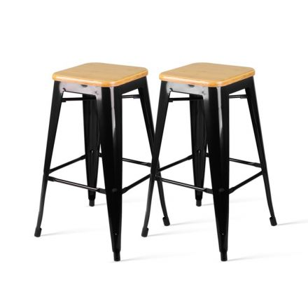 Set Of 2 Replica Tolix Kitchen Bar Stool Bamboo Seat 66cm Black