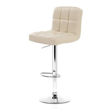 Artiss 2x Leather Bar Stools Noel Kitchen Chairs Swivel Bar Stool Gas Lift Beige