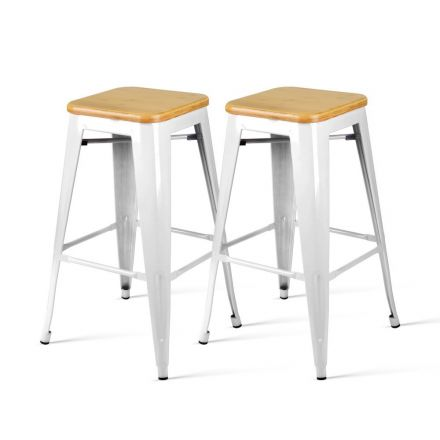 Set Of 2 Steel Kitchen Bar Stools Bamboo Seat  66cm - White