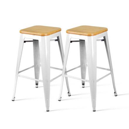 Set Of 2 Steel Kitchen Bar Stools Bamboo Seat  66cm - White