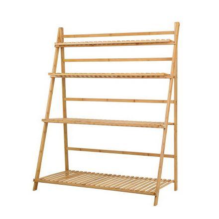 Artiss Bamboo Wooden Ladder Shelf Plant Stand Foldable