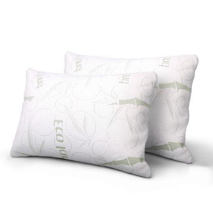 Set Of 2 Bamboo Fabric Cover Shredded Memory Foam Pillow 70 X 40 Cm