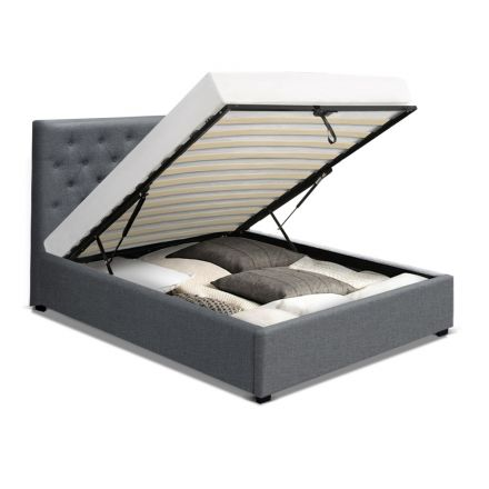 Artiss Vila King Single Size Gas Lift Bed Frame Base With Storage Mattress Grey Fabric