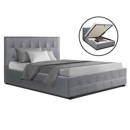 Artiss Roca King Single Size Gas Lift Bed Frame Base With Storage Mattress Grey Fabric