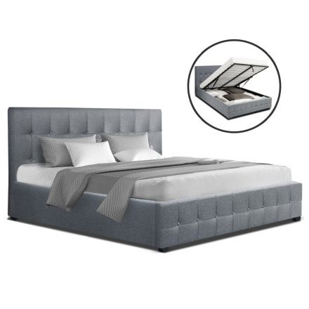 Artiss Roca Queen Size Gas Lift Bed Frame Base With Storage Mattress Grey Fabric