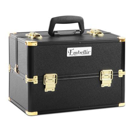 Portable Beauty Makeup Case Diamond Black Gold