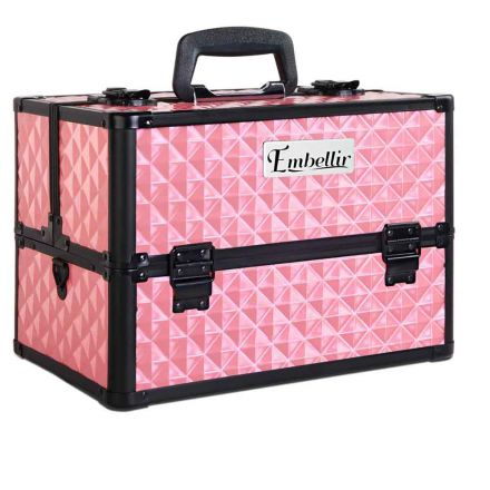 Portable Cosmetic Beauty Make Up Carry Case Box Pink