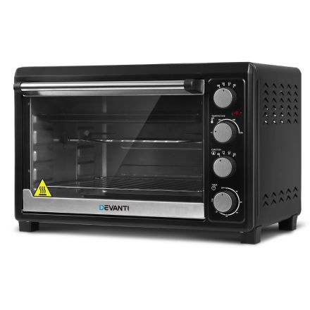 Devanti Electric Convection Oven Benchtop Rotisserie Grill 45l Black