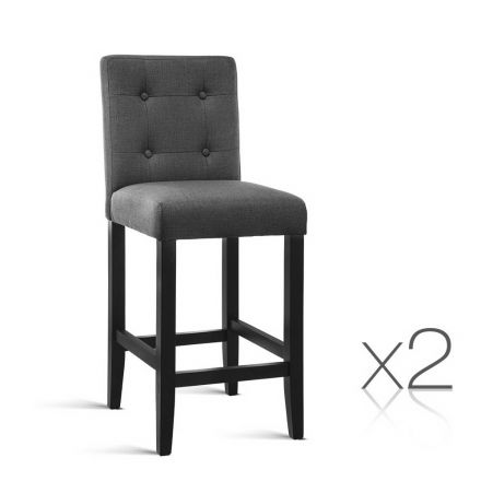 Set Of 2 French Provincial Dining Chair Charcoal Grey