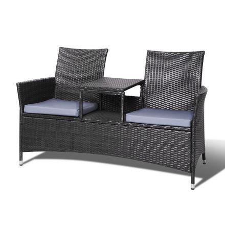 2 Seater Set Bench Black