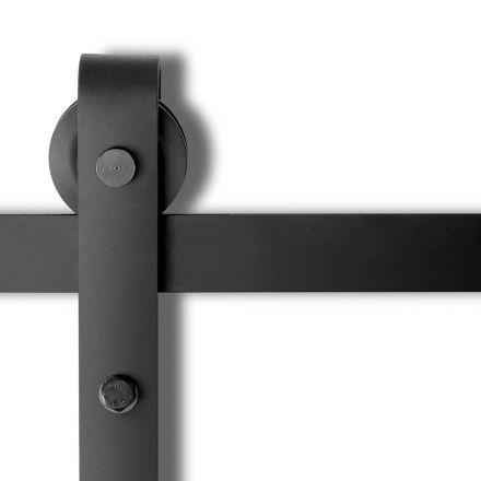 Sliding Barn Door Hardware Track Set Powder Coat Steel Black - 4m