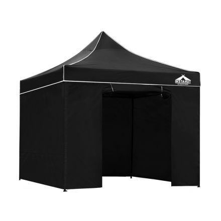 3x3 Pop Up Gazebo Hut With Sandbags Black