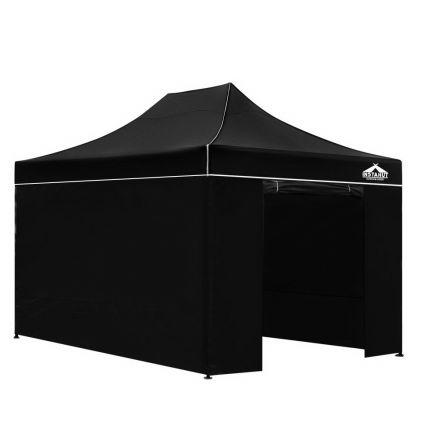 3x4.5 Pop Up Gazebo Hut With Sandbags Black
