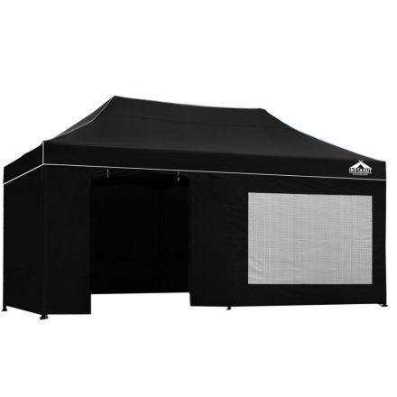 3x6 Pop Up Gazebo Hut With Sandbags Black