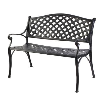Gardeon Garden Bench Outdoor Seat Chair Cast Aluminium Park Black